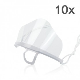 Transparent mouth mask High (white) - 10 pieces